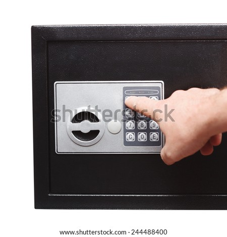 man hand opened a safe, close up - stock photo
