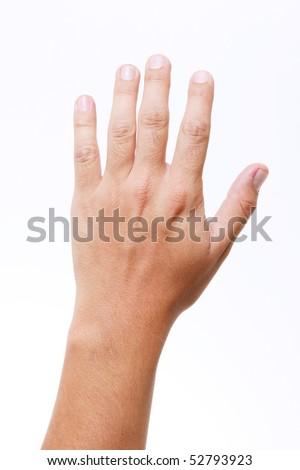 Man hand over white background. Isolated image - stock photo