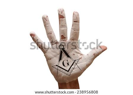 man hand palm painted caution Freemasonry symbol - stock photo