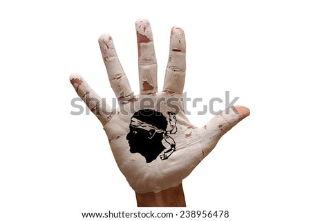 man hand palm painted flag of corsica - stock photo