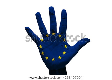 man hand palm painted flag of european union