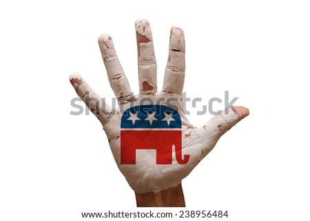 man hand palm painted united states republican party - stock photo