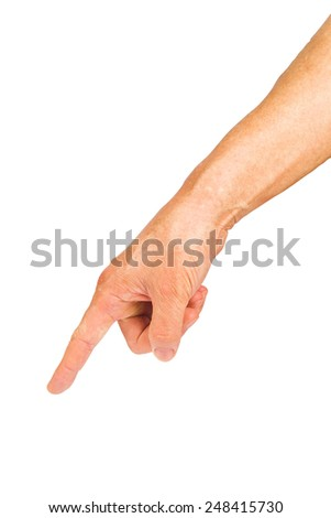 Man hand pointing or touching isolated on white with clip path