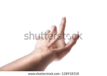 Man Hand Position Touching Screen isolated on white background - stock photo