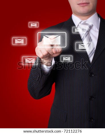 Man hand pressing e-mail icon