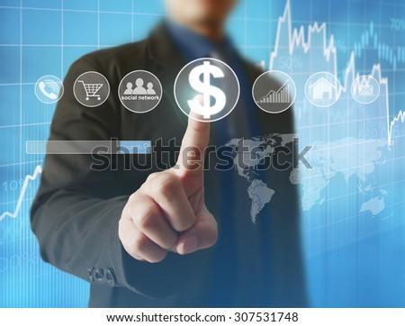 Man Hand pressing modern social button - stock photo