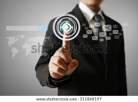 Man Hand pressing modern social button