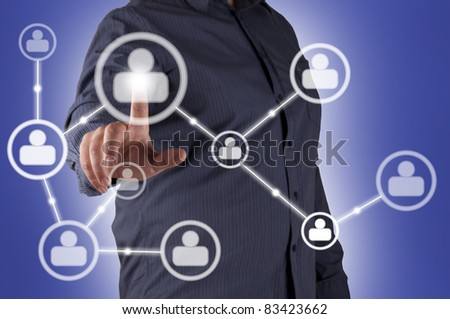 man hand pressing Social Network icon, for business illustration