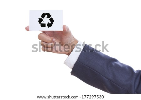 Man hand show recycle logo on business card.