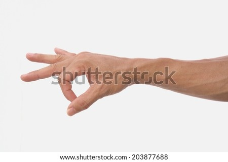 Man hand show strum symbol on isolated white background