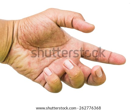 Man hand showing five count - stock photo