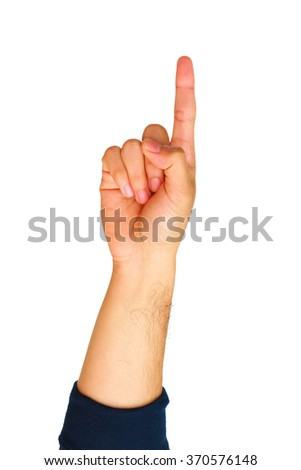 Man hand showing number one isolated on white background. - stock photo