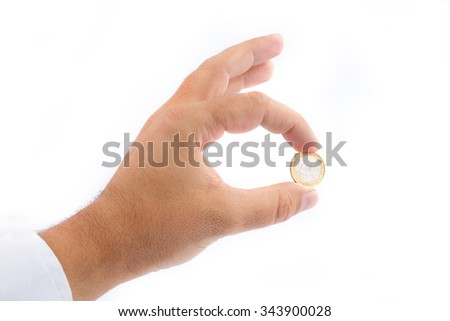Man Hand  showing One Euro Coin Isolated on White Background - stock photo