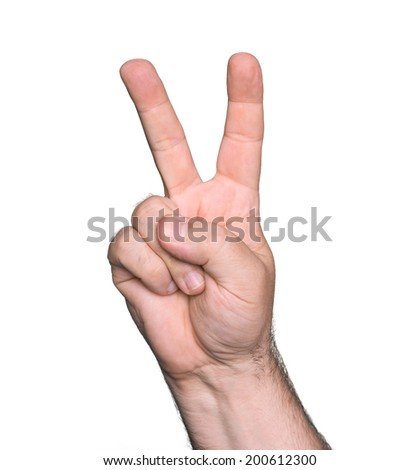 Man hand showing the sign of victory and peace isolated on white background  - stock photo