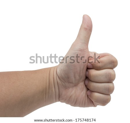 Man hand showing thumb up , isolated on white background