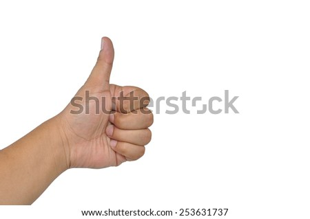 man hand showing thumbs up isolated white background