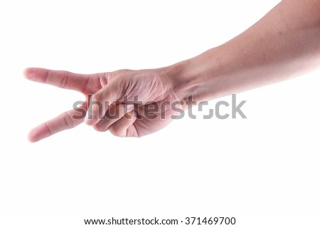 Man hand showing two fingers on a white isolated background