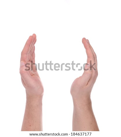 Man hand sign. Isolated on a white background.