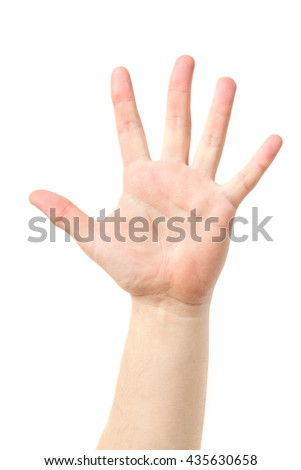 Man hand sign isolated on white background. Man's hand. Man hand sign isolated on white background. - stock photo