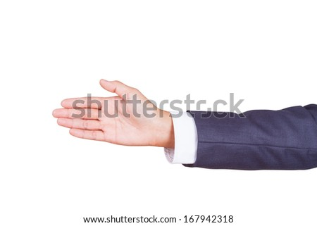 Man hand sign isolated on white background with using path