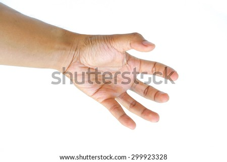 Man Hand Symbol isolated on white background - stock photo