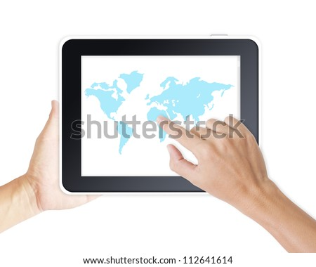Man hand touching screen on modern digital tablet pc