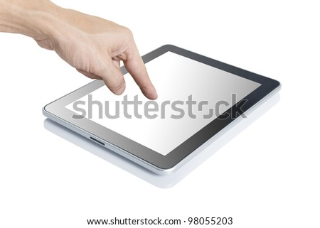 Man hand touching screen on modern digital tablet pc.