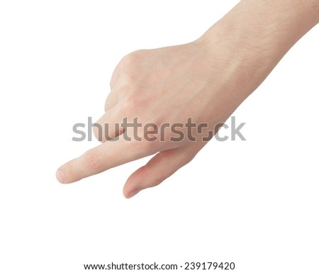 Man hand touching virtual screen. Isolated on white. - stock photo
