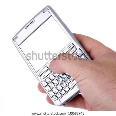 Man hand with a smartphone with blank display to put your image there. Isolation on white.