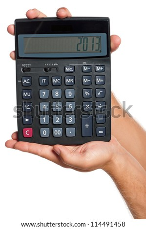 Man hand with calculator isolated on white background - stock photo