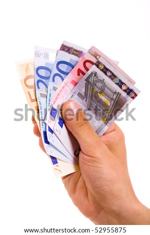 man hand with euro bills over white background - stock photo