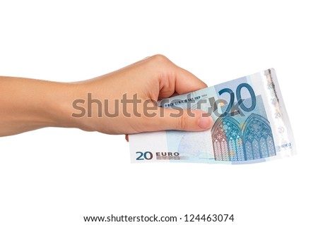 Man hand with euro isolated on white background