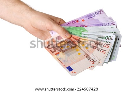 Man hand with euro isolated on white background - stock photo