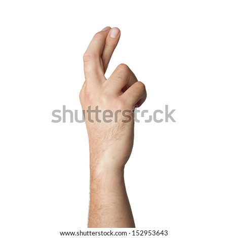 man hand with finger cross gesture