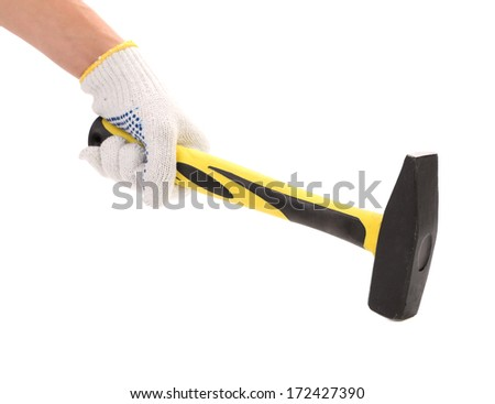 Man hand with hammer  on white background - stock photo