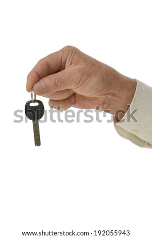 Man hand with keys isolated on white