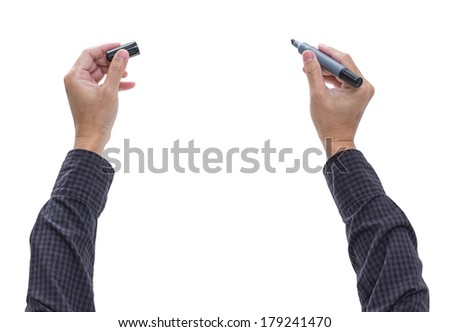 Man hand with pen isolated on white background, clipping path - stock photo