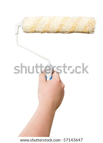man hand with roller isolated