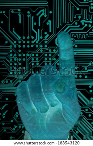 Man hand with  secure data by touch screen, future technology. - stock photo