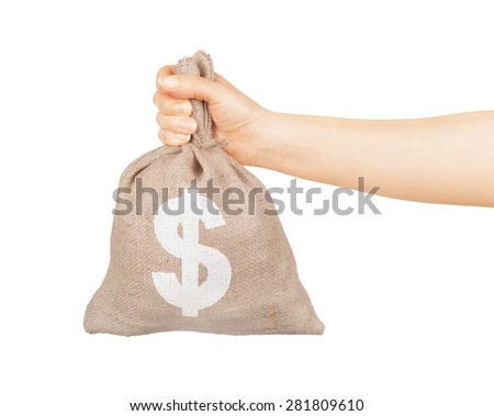 Man hand with small bag on white background - stock photo