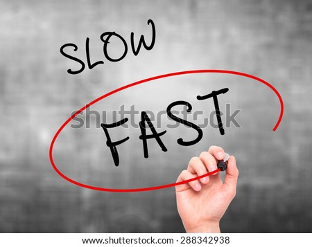 Man Hand writing and Choosing Fast instead of Slow with black marker on visual screen. Isolated on grey. Business, technology, internet concept. Stock Image - stock photo