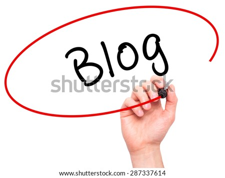 Man Hand writing Blog with marker on transparent wipe board. Isolated on white. Business, internet, technology concept. Stock Photo - stock photo