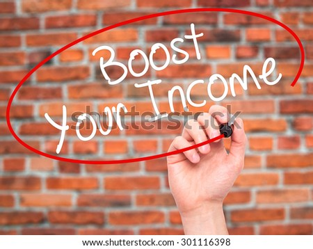 Man Hand writing Boost Your Income with black marker on visual screen. Isolated on bricks. Business, technology, internet concept. Stock Photo - stock photo