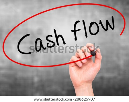 Man Hand writing Cash flow with black marker on visual screen. Isolated on grey. Business, technology, internet concept. Stock Image
