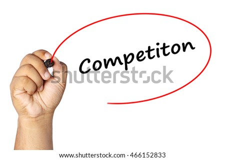 Man Hand writing competiton with marker on virtual screen