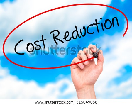 Man Hand writing Cost Reduction with black marker on visual screen. Isolated on sky. Business, technology, internet concept. Stock Photo - stock photo