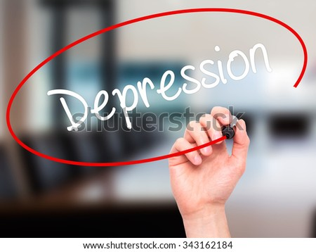 Man Hand writing Depression  with black marker on visual screen. Isolated on office. Business, technology, internet concept. Stock Photo - stock photo