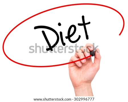 Man Hand writing Diet (in Portuguese)  with black marker on visual screen. Isolated on white. Business, technology, internet concept. Stock Photo