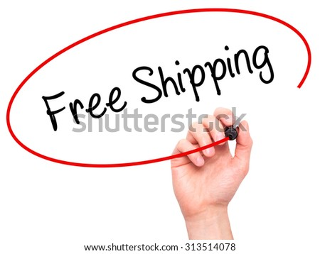 Man Hand writing Free Shipping with black marker on visual screen. Isolated on white. Business, technology, internet concept. Stock Photo - stock photo