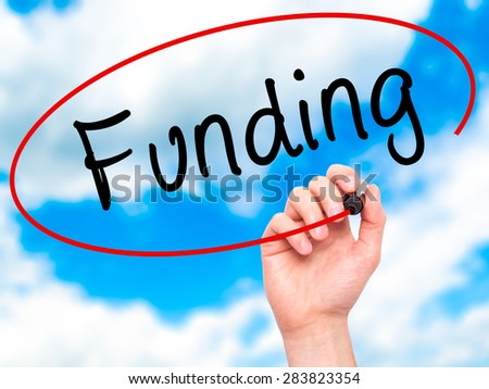 Man Hand writing Funding with marker on transparent wipe board. Isolated on sky. Business, internet, technology concept. Stock Photo - stock photo